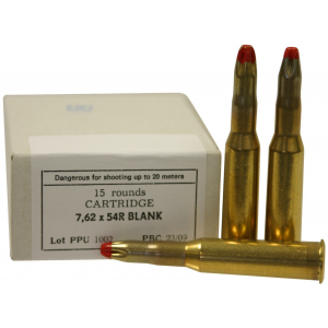 PPU Blank Rifle Ammunition 7.62mm X 54R Extended Blank 15/ct