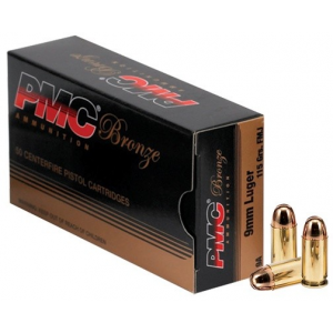 PMC Bronze Handgun Ammunition 9mm Luger 115 gr FMJ 1150 fps 50/box