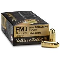 Sellier & Bellot, .380 ACP, FMJ, 92 Grain, 50 Rounds