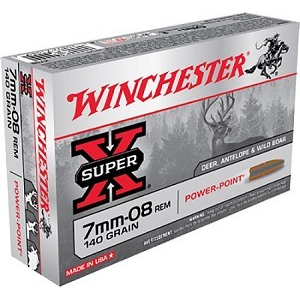 Winchester Super-X Power Point Rifle Ammunition 7mm-08 Rem 140 gr PSP 2800 fps - 20/box