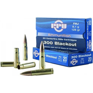 PPU Standard Rifle Ammunition .300 AAC Blackout 125 gr FMJ 2198 fps 20/ct