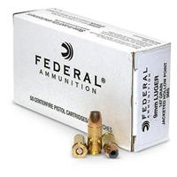 250 rounds Federal® 9mm 147 Grain JHP Ammo