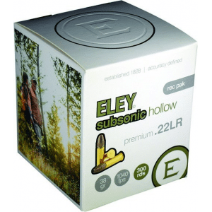 Eley Subsonic Hollow Rimfire Ammunition .22 LR 38gr HP 1040 fps 300/ct