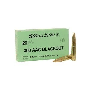 Sellier-Bellot Subsonic Rifle Ammunition .300 AAC Blackout 200 gr FMJ 1060 fps 20/ct