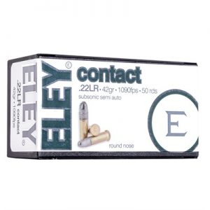 Eley Americas Contact Ammo 22 Long Rifle 42gr Subsonic Lead Round Nose - 22 Long Rifle 42gr Subsonic Lead Round Nose 500/Brick