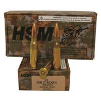 HSM Range Ammo, .308 (7.62x51mm), Sierra HPBT, 168 Grain, 160 Rounds, Remanufactured/Blem.