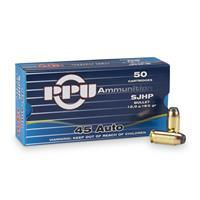 PPU, .45 ACP, SJHP, 185 Grain, 50 Rounds