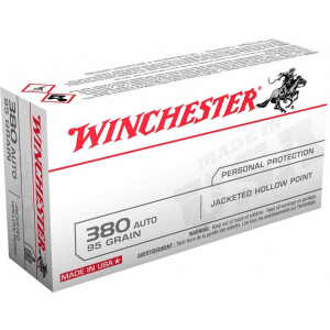 Winchester USA Handgun Ammunition .380 ACP 95 gr JHP 50/box