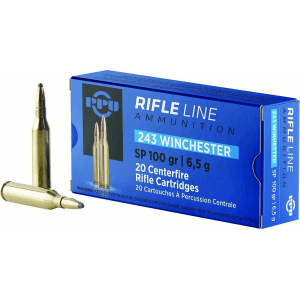 PPU Rifle Ammunition .243 Win 100 gr SP 2960 fps 20/ct