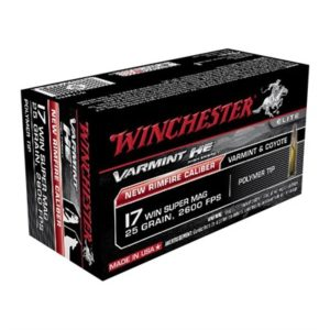 Winchester Varmint High Energy 17 Winchester Super Magnum Ammo - 17 Win Super Mag 25gr Polymer Tip 50/Box