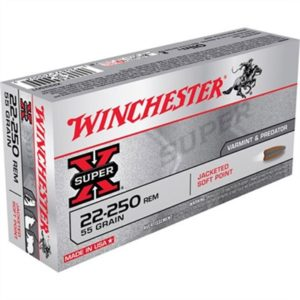 Winchester Super-X Ammo 22-250 Remington 55gr Pointed Sp - 22-250 Remington 55gr Pointed Soft Point 20/Box