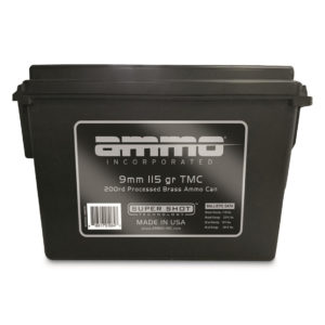 Ammo Inc. 9mm Luger Processed Brass Ammo 200-Round Bulk Can, 115-gr, TMC