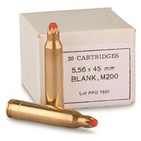 PPU, .223 (5.56x45mm), M200 A1 Standard Blank Ammo, 20 Rounds