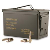 PPU, .308 (7.62x51mm), FMJBT, 145 Grain, 500 Rounds with Can