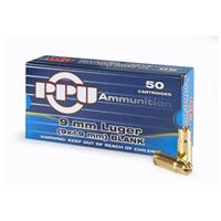 PPU, 9mm, Standard Blank Ammo, 50 Rounds