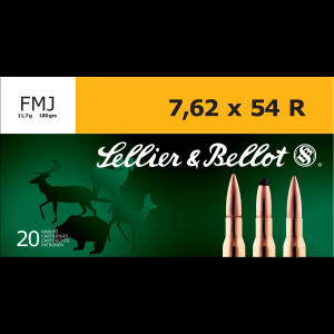 Sellier & Bellot Rifle Ammunition 7.62x54R 180 gr 2580 fps FMJ - 20/box