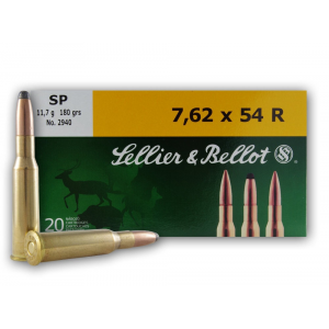 Sellier & Bellot Rifle Ammunition 7.62x54R 180 gr SP 2625 fps - 20/box