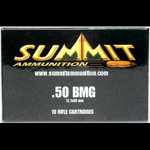 Summit Rifle Ammunition with Once-Fired Brass .50 BMG 649 gr Silver Tip - 10/box