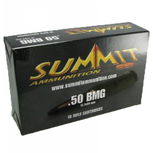 Summit Rifle Ammunition with Once-Fired Brass .50 BMG 700 gr Black Tip - 10/box
