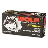 Wolf, .357 Magnum, FMJ, 158 Grain, 50 Rounds
