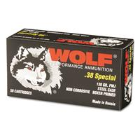 Wolf, .38 Special, FMJ, 130 Grain, 50 Rounds