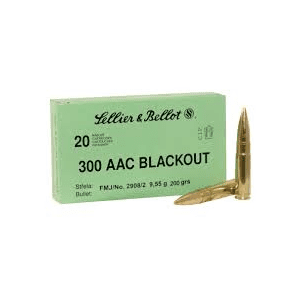 Sellier & Bellot Subsonic Rifle Ammunition .300 AAC Blackout 200 gr FMJ 1060 fps 20/ct