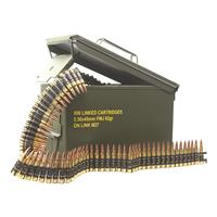 Magtech M27 Linked Ammo, .223 (5.56x45mm), FMJ, 62 Grain, 800 Linked Rounds in Ammo Can