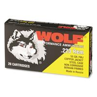 Wolf, .223 Remington, 55 Grain, FMJ Ammo, 20 Rounds